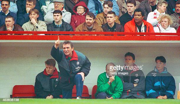 Nottingham Forest manager Brian Clough makes a point watched by coach Archie Gemmill during a League Division One match in the 1990/91 season at the...