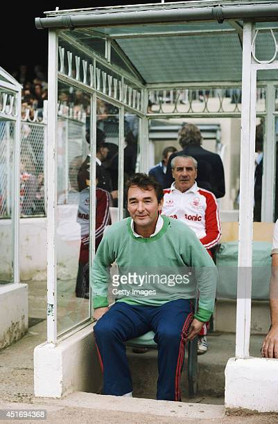 Nottingham Forest manager Brian Clough raises a smile from the bench whilst trainer Jimmy Gordon looks on from behind before a Division One match...