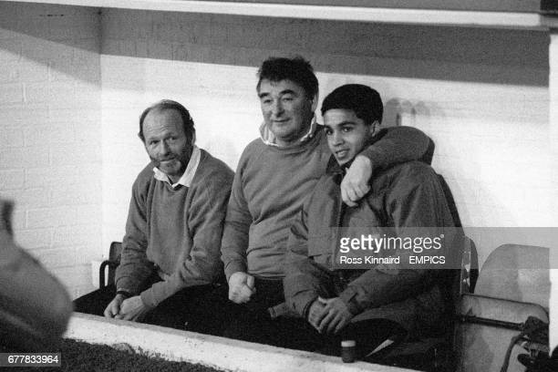 Nottingham Forest Manager Brian Clough sits in the dug out with assistant Archie Gemmill and Gary Charles This will be the last game this season the...