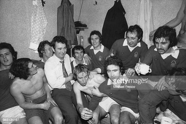 Nottingham Forest manager Brian Clough with his team in the dressing room after their 10 victory over Tottenham Hotspur in an FA Cup Third Round...