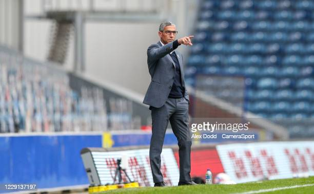 Nottingham Forest manager Chris Hughton shouts instructions to his team from the technical area during the Sky Bet Championship match between...