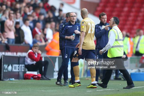 Nottingham Forest manager head coach Martin ONeill looks on as Yohan Benalouane of Nottingham Forest leaves the field after receiving a Red Card...