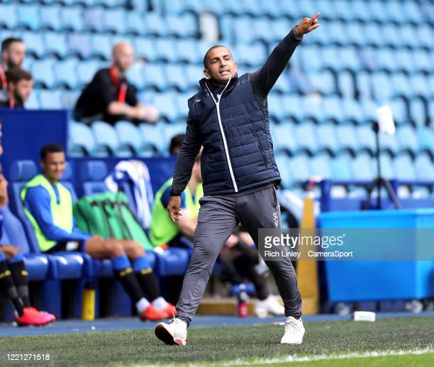 Nottingham Forest manager Sabri Lamouchi shouts instructions to his team from the technical area during the Sky Bet Championship match between...
