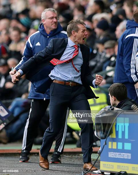 Nottingham Forest manager Stuart Pearce celebrates after their first goal during the Sky Bet Championship Match between Derby County and Nottingham...