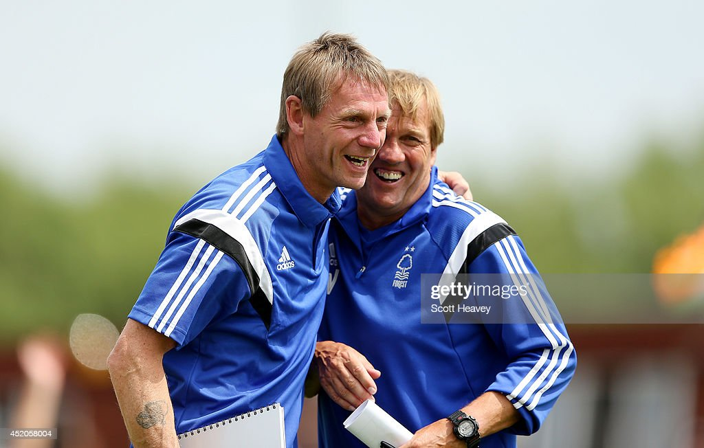 Nottingham Forest manager Stuart Pearce with his assistant Steve Wigley during a pre season friendly between Ilkeston and Nottingham Forest on July 12, 2014 in Ilkeston, England.