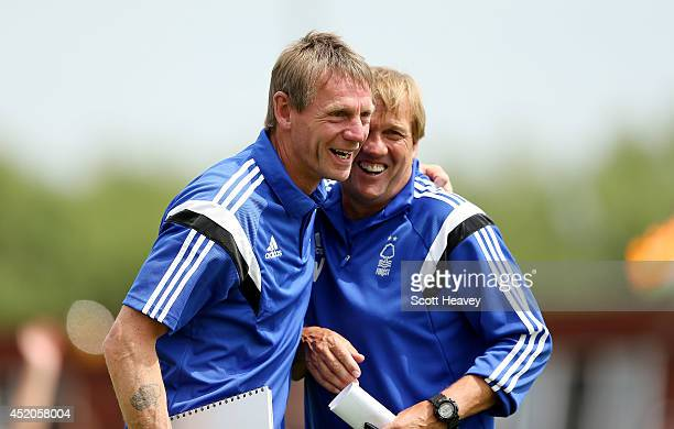 Nottingham Forest manager Stuart Pearce with his assistant Steve Wigley during a pre season friendly between Ilkeston and Nottingham Forest on July...