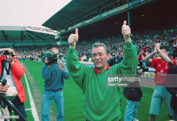 Nottingham Forest mananger Brian Clough salutes the fans after his last game in charge of the club before retiring His forest side were relegated...