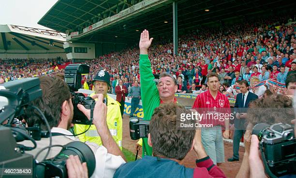 Nottingham Forest mananger Brian Clough waves to the crowd for the last time as Forest mananger after a 2-0 defeat by Sheffield United condemned...