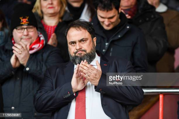Nottingham forest owner Evangelos Marinakis applauds the Forest supporters during the Sky Bet Championship match between Nottingham Forest and Hull...