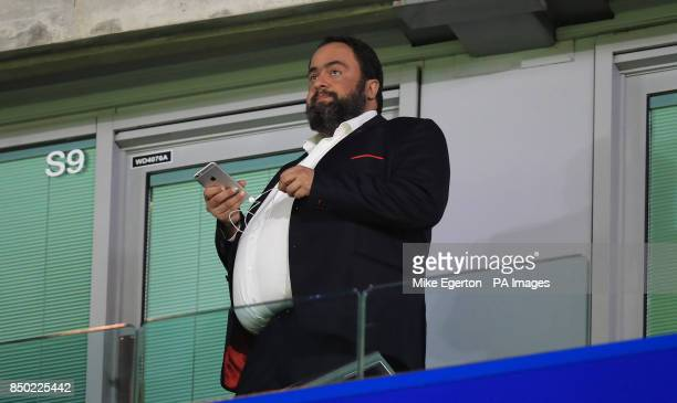Nottingham Forest owner Evangelos Marinakis in the stands before the Carabao Cup Third Round match at Stamford Bridge London