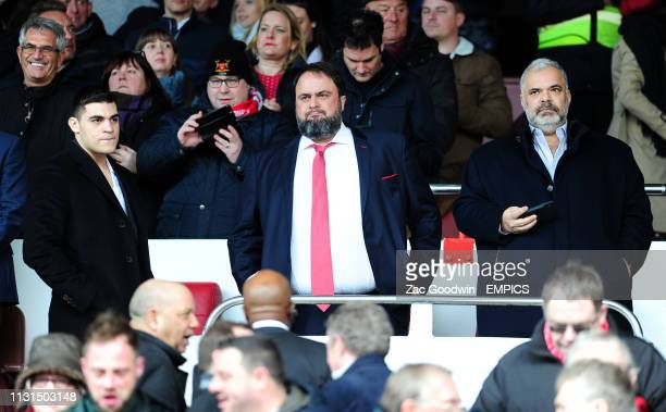 Nottingham Forest owners Evangelos Marinakis and Sokratis Kominakis in the stand before the game Nottingham Forest v Hull City Sky Bet Championship...