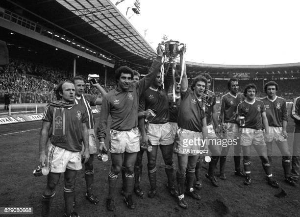 Nottingham Forest parading the League Cup at Wembley after they retained the trophy with a 32 victory over Southampton Forest players are Archie...