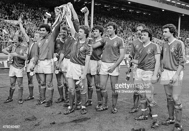 Nottingham Forest players celebrate with the trophy after their 32 victory over Southampton in the League Cup Final at Wembley Stadium in London 17th...