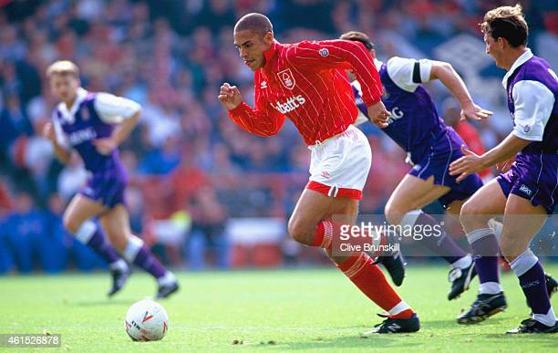 Nottingham Forest striker Stan Collymore races away from the Stoke defence during the FA Premier League match between Nottingham Forest and Stoke...