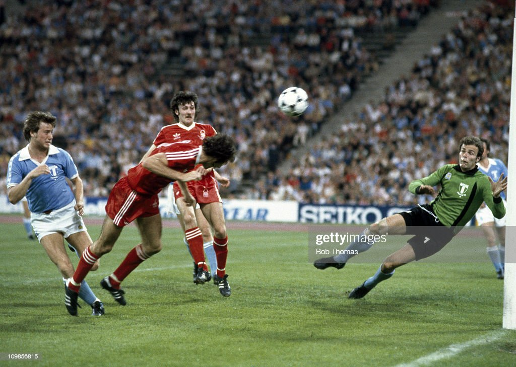 Nottingham Forest striker Trevor Francis dives to head the ball past Malmo goalkeeper Jan Moller to score the winning goal in the European Cup Final at the Olympic Stadium in Munich, 30th May 1979. Nottingham Forest won 1-0.