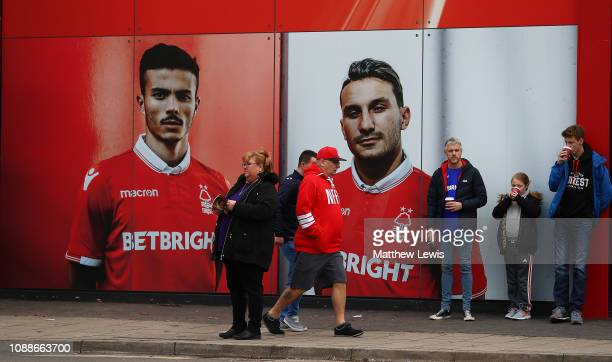 Nottingham Forest supporters arrive ahead of the Sky Bet Championship match between Nottingham Forest and Leeds United at City Ground on January 01...