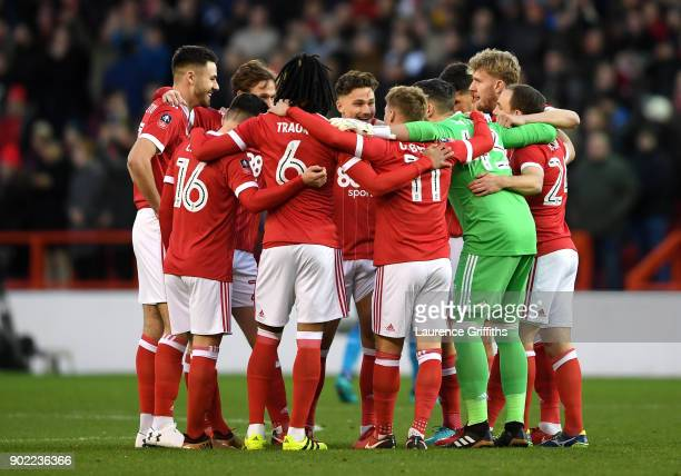 Nottingham Forest team huddle prior to The Emirates FA Cup Third Round match between Nottingham Forest and Arsenal at City Ground on January 7 2018...