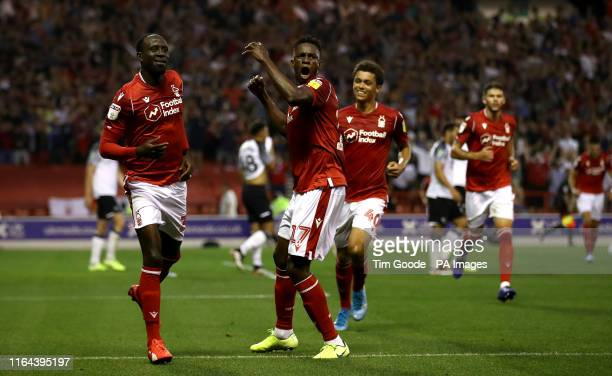 Nottingham Forest's Albert Adomah celebrates scoring his side's first goal of the game with teammate Alfa Semedo during the Carabao Cup Second Round...