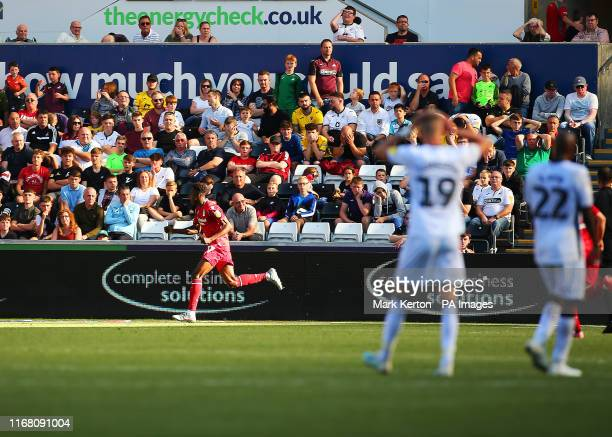 Nottingham Forest's Alfa Semedo runs to the corner flag as he celebrates scoring his sides first goal of the match during the Sky Bet Championship...