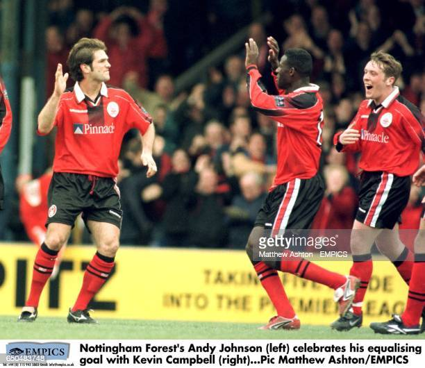 Nottingham Forest's Andy Johnson celebrates his equalising goal with Chris BartWilliams