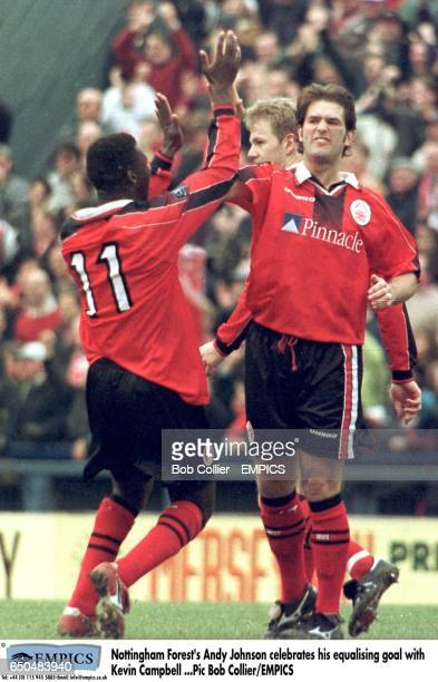 Nottingham Forest's Andy Johnson celebrates his equalising goal with teammate Chris BartWilliams