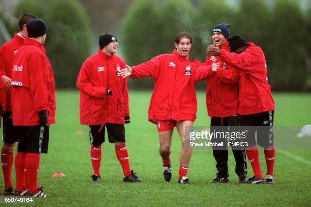 Nottingham Forest's Andy Johnson entertains teammates Steve Stone Neil Shipperley and Chris BartWilliams
