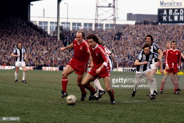 Nottingham Forest's Archie Gemmill and Martin O'Neill force their way past West Bromwich Albion's Derek Statham watched by teammates John McGovern...