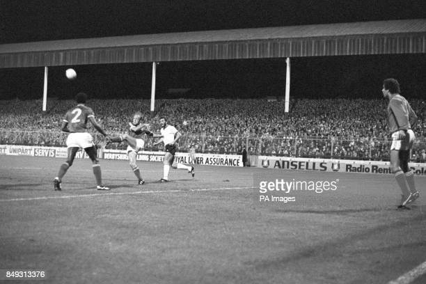 Nottingham Forest's Archie Gemmill clears a Liverpool attack during a European Cup firstround match at the City Ground watched by Forest goalkeeper...