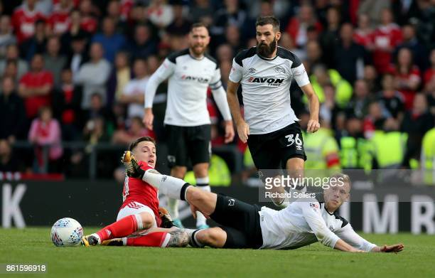 Nottingham Forest's Barrie McKay challenges Derby County's Matej Vydra during the Sky Bet Championship match between Derby County and Nottingham...