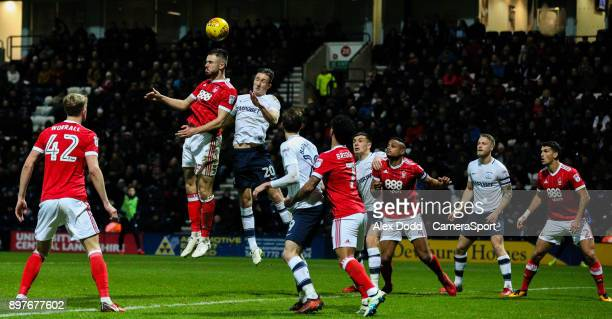 Nottingham Forest's Ben Brereton competes in the air with Preston North End's Ben Davies during the Sky Bet Championship match between Preston North...