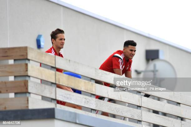 Nottingham Forest's Chris Cohen and Jamaal Lascelles during a press breakfast at The Nottingham Forest Training Academy Nottingham