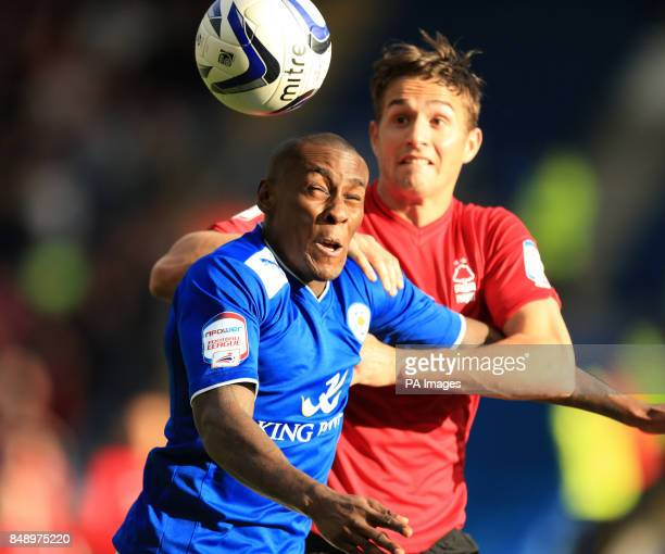 Nottingham Forest's Chris Cohen and Leicester's Lloyd Dyer during the npower Football League Championship match at the King Power Stadium Leicester
