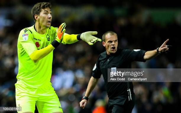Nottingham Forest's Costel Pantilimon appeals to the assistant referee claiming Leeds United's Kemar Roofe used an arm to equalise at Elland Road on...