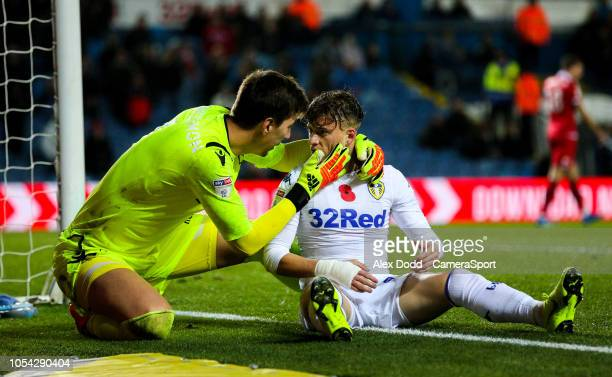 Nottingham Forest's Costel Pantilimon checks on the welfare of Leeds United's Ezgjan Alioski at Elland Road on October 27 2018 in Leeds England