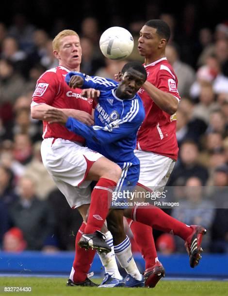 Nottingham Forest's Gary Holt and Julian Bennett and Chelsea's Shaun WrightPhillips