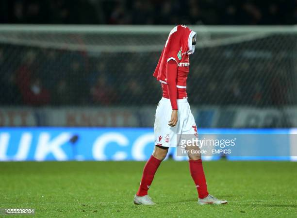 Nottingham Forest's Gil Dias is dejected after the final whistle Burton Albion v Nottingham Forest Carabao Cup Fourth Round Pirelli Stadium