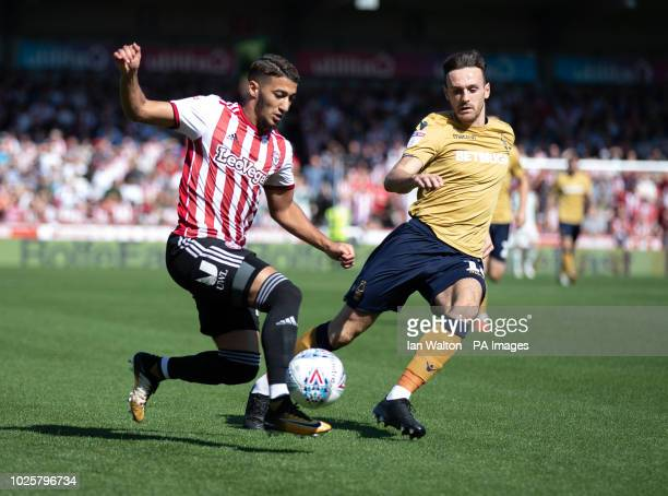 Nottingham Forest's Jack Robinson tries to tackle Brentford's Said Benrahma Brentford v Nottingham Forest Sky Bet Championship Griffin Park