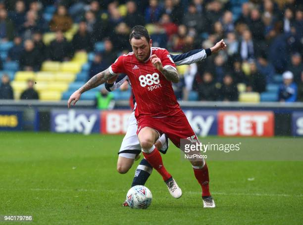 Nottingham Forest's Lee Tomlin during Championship match between Millwall against Nottingham Forest at The Den stadium London England on 30 March 2018