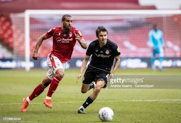 Nottingham Forest's Lewis Grabban competing with Bristol City's Adam Nagy during the Sky Bet Championship match between Nottingham Forest and Bristol...