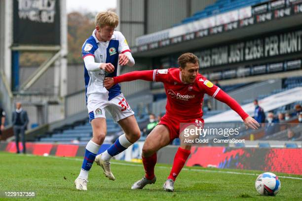 Nottingham Forest's Luke Freeman battles with Blackburn Rovers Luke Brennan during the Sky Bet Championship match between Blackburn Rovers and...