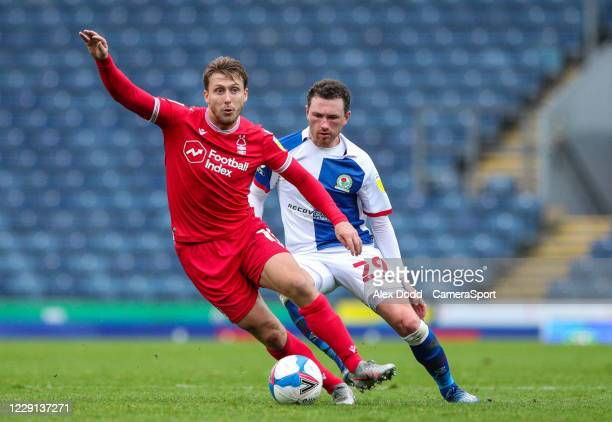 Nottingham Forest's Luke Freeman shields the ball from Blackburn Rovers' Corry Evans during the Sky Bet Championship match between Blackburn Rovers...