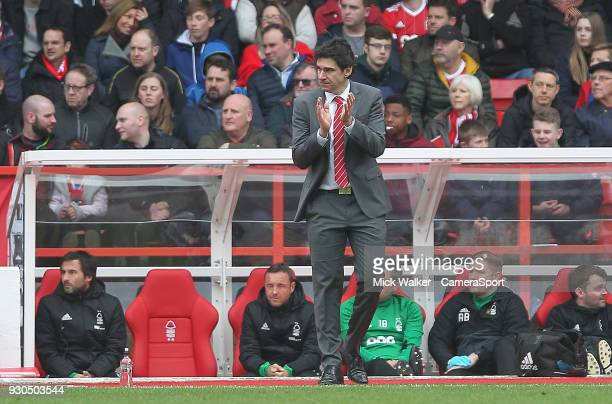 Nottingham Forest's Manage Aitor Karanka during the Sky Bet Championship match between Nottingham Forest and Derby County at City Ground on March 11...