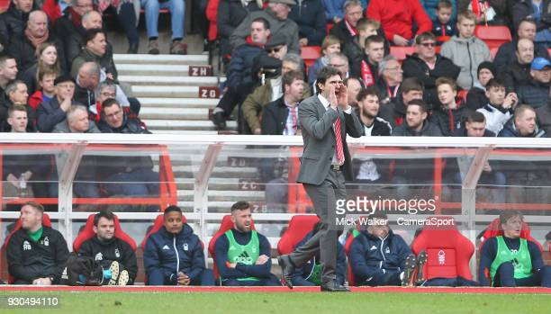 Nottingham Forest's Manager Aitor Karanka during the Sky Bet Championship match between Nottingham Forest and Derby County at City Ground on March 11...