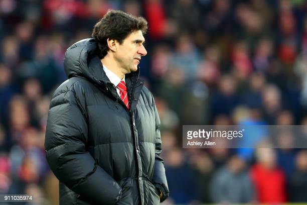Nottingham Forest's manager Aitor Karanka looks on during the Emirates FA Cup Fourth Round match between Hull City and Nottingham Forest at KCOM...