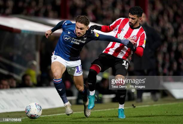 Nottingham Forest's Matty Cash and Brentford's Said Benrahma during the Sky Bet Championship match at Griffin Park Brentford