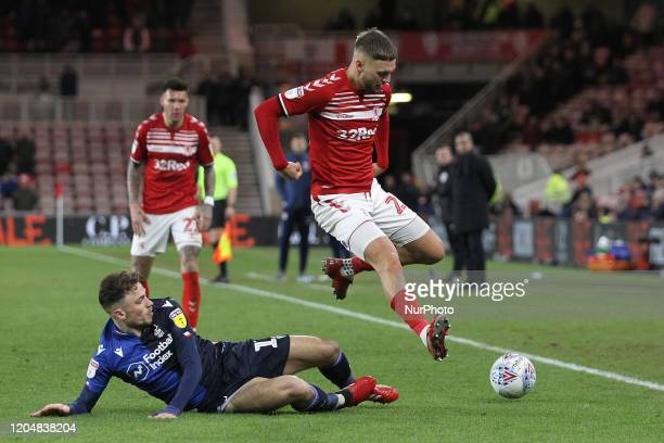 Nottingham Forest's Matty Cash tackles Middlesbrough's Lewis Wing during the Sky Bet Championship match between Middlesbrough and Nottingham Forest...