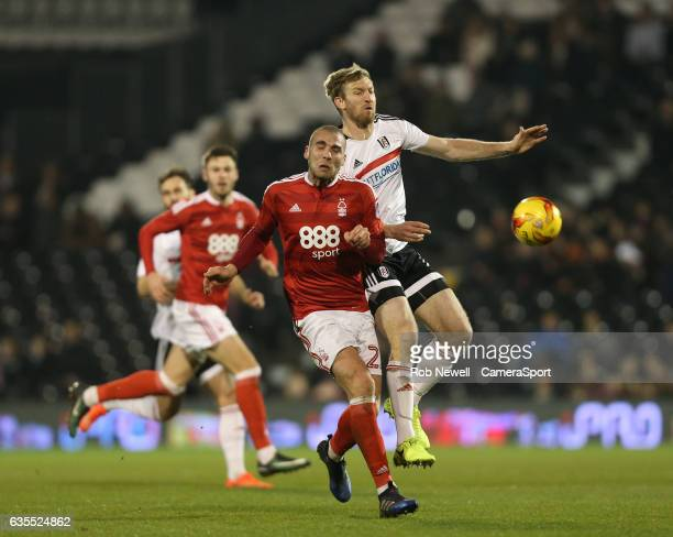 Nottingham Forest's Pajtim Kasami and Fulham's Tim Ream during the Sky Bet Championship match between Fulham and Nottingham Forest at Craven Cottage...