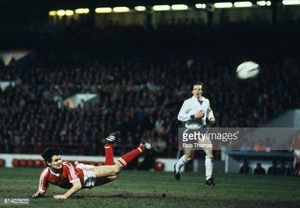 Nottingham Forest's Steve Hodge dives to score their 2nd goal during the UEFA Cup SemiFinal 1st leg against Anderlecht at the City Ground 11th April...