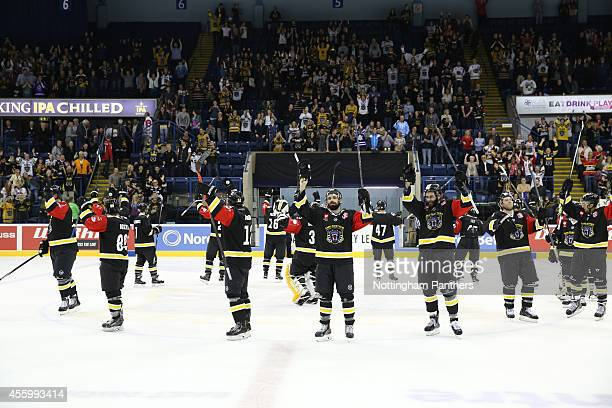 Nottingham Panthers celebrate during the Champions Hockey League group stage game between Nottingham Panthers and Hamburg Freezers on September 23...