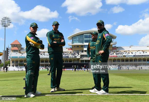 Nottingham players look on before the go out to field during the Royal London OneDay Cup match between Nottinghamshire Outlaws and Kent Spitfires at...